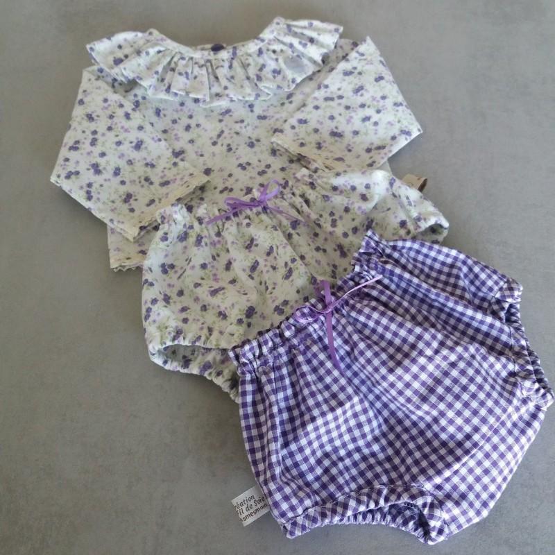 Ensemble blouse col volanté et bloomer tissu imprimé de petits carreaux vichy mauve