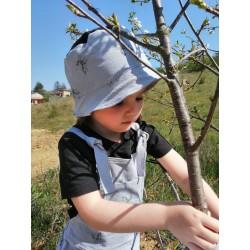 Chapeau de soleil bleu gris dessin licorne noir