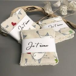 Lingettes coton lavable motif oiseaux amoureux